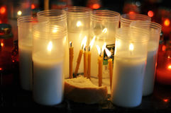 Candles and bread Stock Image