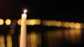 Candles and bridge stock video