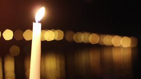 Candles and bridge stock footage