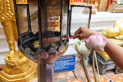 Candles for buddhism worshiping. Of Wat at chiangmai , Art of Thai style window at temple in Thailand Stock Image