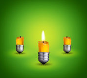 Candles into bulbs Royalty Free Stock Images
