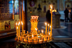 Candles burn in Church Royalty Free Stock Photo