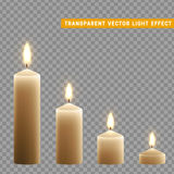 Candles burn with fire realistic. Set isolated on transparent background. Element for design decor, vector illustration Royalty Free Stock Photography