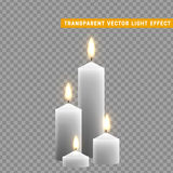 Candles burn with fire realistic. Set isolated on transparent background. Element for design decor, vector illustration Stock Photo