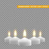 Candles burn with fire realistic. Set isolated on transparent background. Element for design decor, vector illustration Stock Images