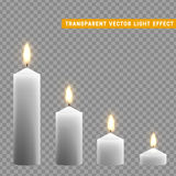 Candles burn with fire realistic. Set isolated on transparent background. Element for design decor, vector illustration Royalty Free Stock Image
