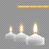 Candles burn with fire realistic. Set isolated on transparent background. Element for design decor, vector illustration Stock Image
