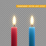 Candles burn with fire realistic. Set isolated on transparent background. Element for design decor, vector illustration Royalty Free Stock Photos