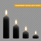Candles burn with fire realistic. Set isolated on transparent background. Element for design decor, vector illustration. Stock Photos