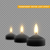 Candles burn with fire realistic. Set isolated on transparent background. Element for design decor, vector illustration. Stock Images
