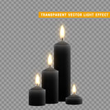 Candles burn with fire realistic. Set isolated on transparent background. Element for design decor, vector illustration. Royalty Free Stock Photos