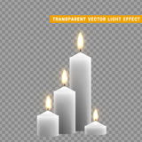 Candles burn with fire realistic. Set isolated on transparent background. Element for design decor, vector illustration. Stock Image