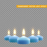 Candles burn with fire realistic. Set  on transparent background. Element for design decor, vector illustration Royalty Free Stock Photos