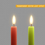 Candles burn with fire realistic. Set  on transparent background. Element for design decor, vector illustration Stock Image