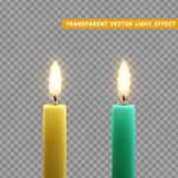 Candles burn with fire realistic. Royalty Free Stock Photos