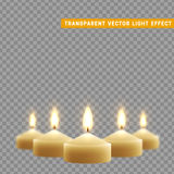 Candles burn with fire realistic. Set  on transparent background. Element for design decor, vector illustration. Stock Photography