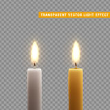 Candles burn with fire realistic. Set  on transparent background. Element for design decor, vector illustration. Royalty Free Stock Images