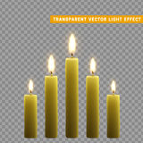 Candles burn with fire realistic. Set  on transparent background. Element for design decor, vector illustration Stock Images