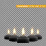 Candles burn with fire realistic. Set  on transparent background. Element for design decor, vector illustration Stock Photos