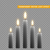 Candles burn with fire realistic. Set  on transparent background. Element for design decor, vector illustration Stock Photo