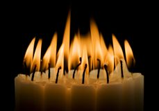 Candles Burning. Closeup image of many candles burning stock images