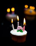 Candles burning on cake Stock Image