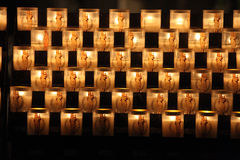 Candles burning in the Cathedral of Notre Dame de Paris Royalty Free Stock Photos