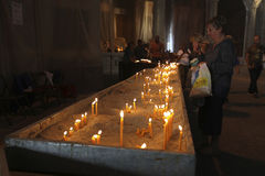 Candles burning in the Cathedral of Saint Sava. Belgrade, Serbia Royalty Free Stock Image