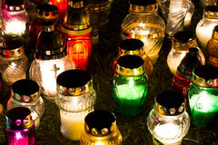 Candles Burning At a Cemetery. During All Saints Day Royalty Free Stock Photos
