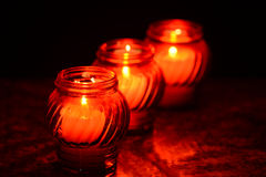 Candles Burning At a Cemetery During All Saints Day Royalty Free Stock Photos