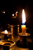 Candles  burning in the church. Candles burning in the orthodox church at night Royalty Free Stock Photo