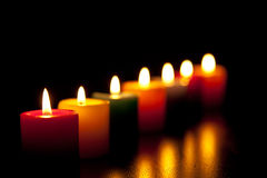 Candles burning for love. With black screen Royalty Free Stock Photography