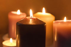 Candles. Burning in the night Royalty Free Stock Photos