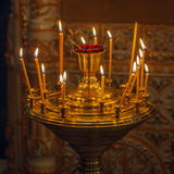 Candles Burning in Orthodox Church Royalty Free Stock Photo