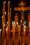 Candles Burning in Orthodox Church Stock Photos