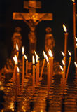 Candles Burning in Orthodox Church Royalty Free Stock Photography