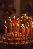 Candles Burning in Orthodox Church Stock Image