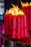 Candles burning in the place of  worship Royalty Free Stock Photo