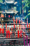 Candles. Burning red candles in temple for prey on qingcheng mountain,dujiangyan Royalty Free Stock Photography