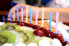 Candles on cake Stock Photo
