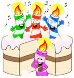Candles on cake celebrate birthday Royalty Free Stock Photo
