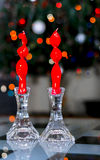 Candles forse partes immemorial. Candles with candle holders crystal Stock Photography