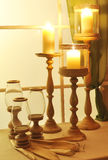 Candles and candle holders. A view of candles and candle holders Royalty Free Stock Photos
