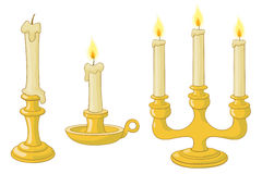 Candles and candlesticks. Lighted candles in candlesticks and chandelier Stock Illustration
