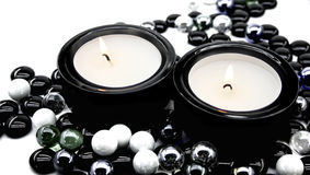 Candles in candlesticks Stock Photography