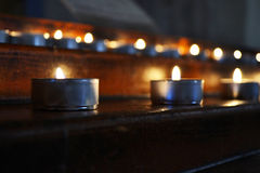 Candles in cathedral Stock Image