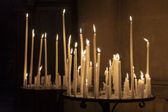 Candles in the Cathedral of Reims Stock Images