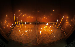 Candles in Cathedral, Varna - Bulgaria stock images