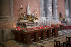 Candles in a Catholic cathedral Stock Photos