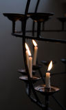 Candles in catholic church. Candles in dark part of catholic church. Helsinki, Finland Royalty Free Stock Photos
